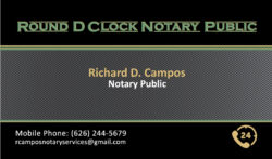 Round D Clock Notary Public