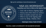 CARMEN LANE LLC ~ NSA 101 Hands-on Workshops for Washington Notaries