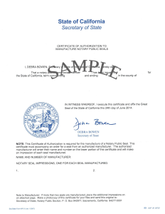 sample Certificate of Authorization to Manufacture Notary Public Seals